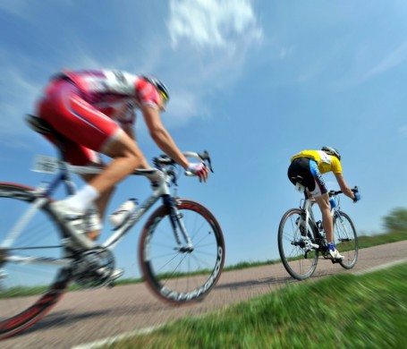 Triathlon cycling road view